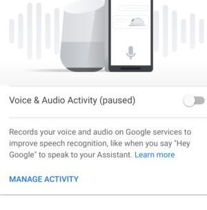 google assistant voice recordings