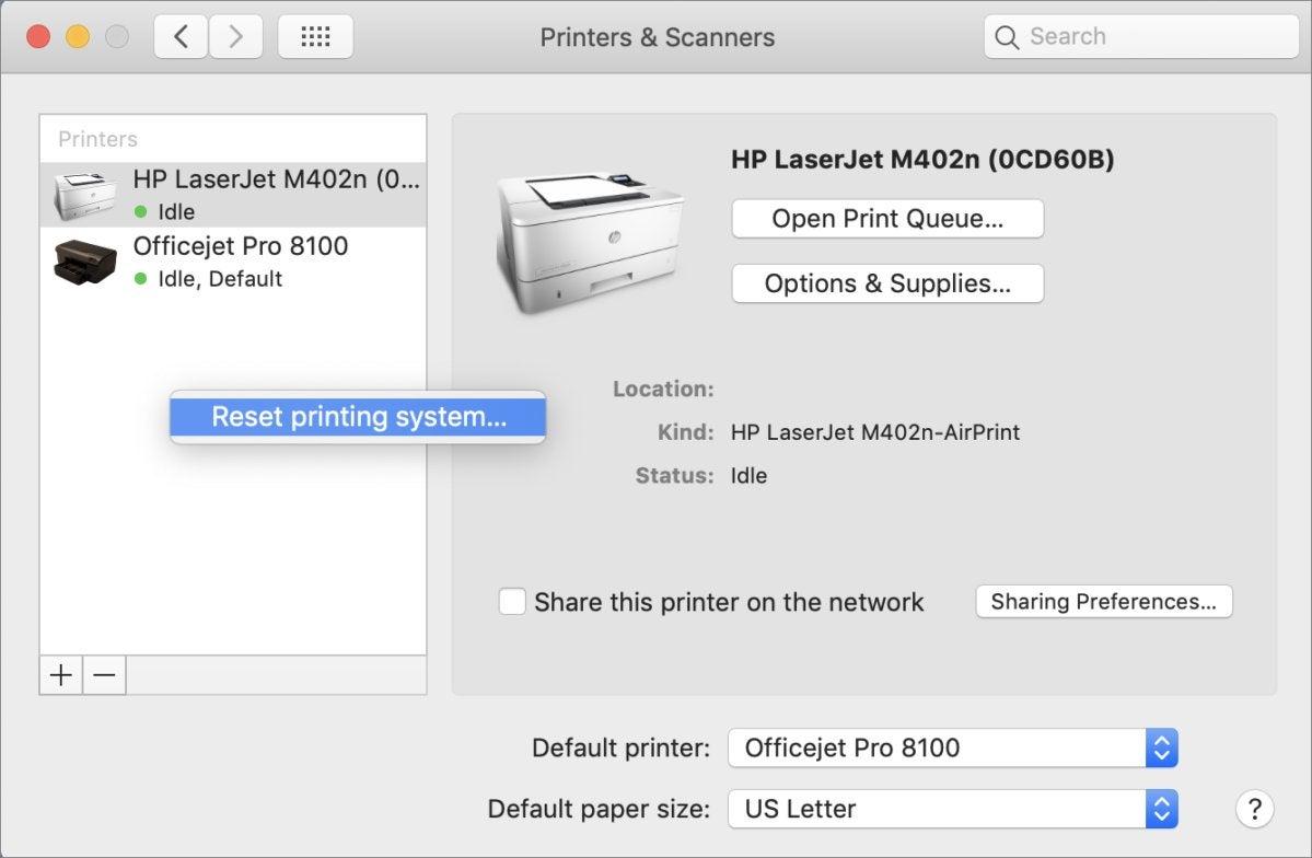 mac911 reset printer settings macos