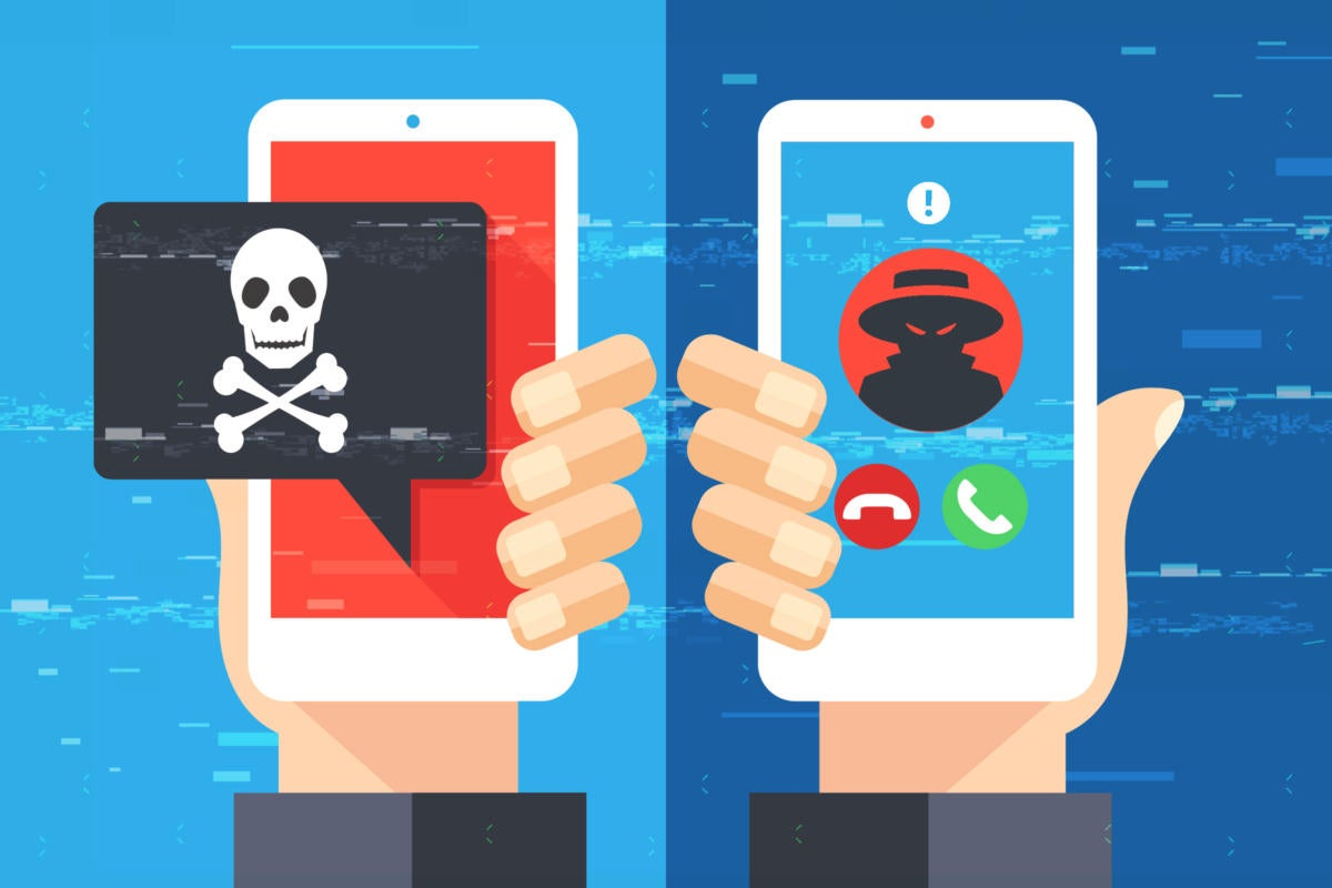 Smishing, an SMS phishing attack / Vishing, a voice phishing attack by phone