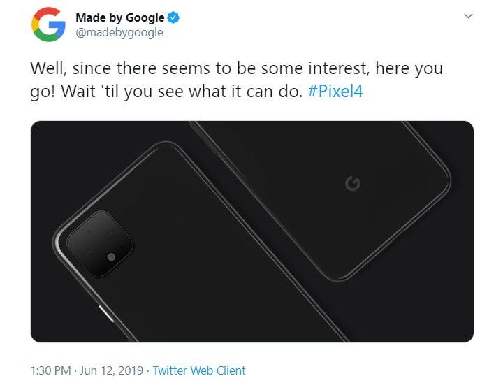Pixel 4 Google Tweet