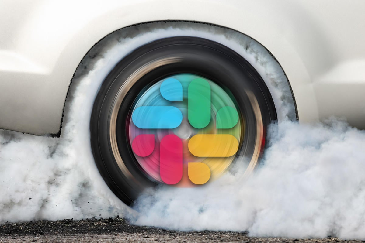 slack supercharged with third party apps more powerful tire burning rubber spinning slack logo by t