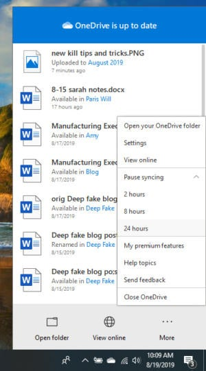 win10 onedrive pause sync aug2019