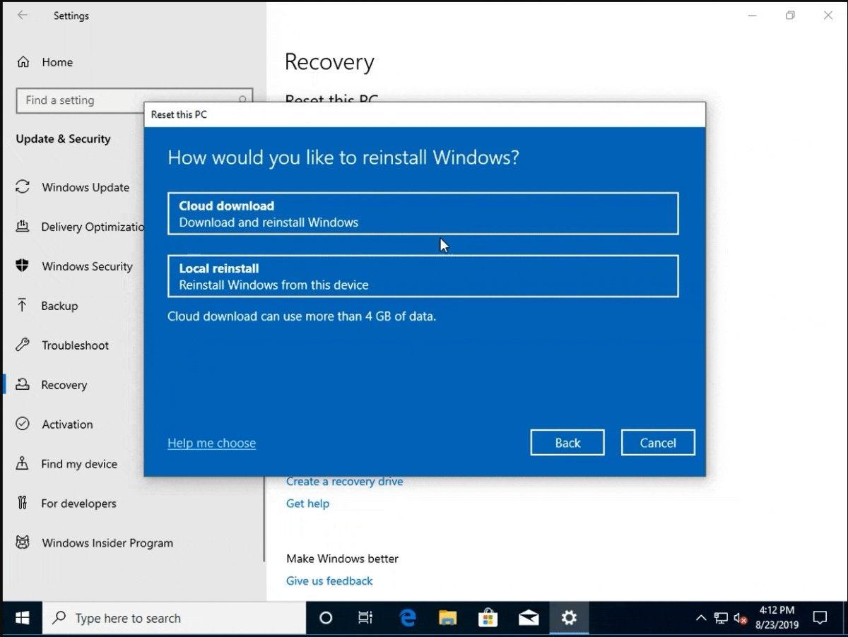 windows 10 cloud reset