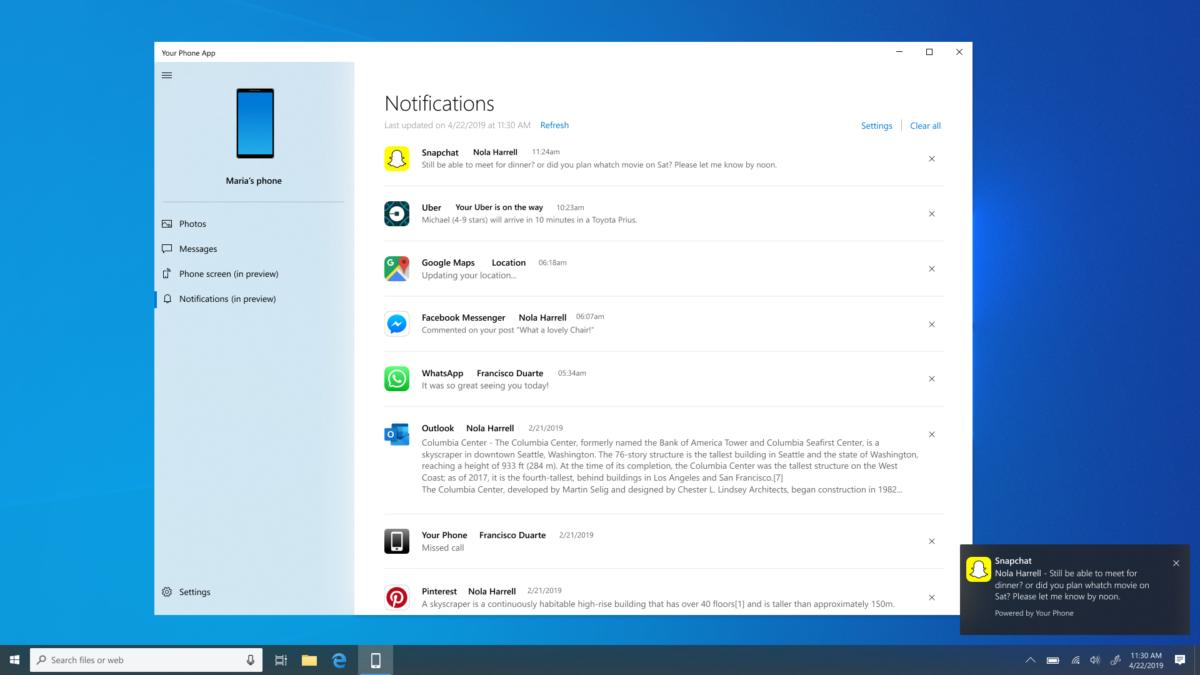 Microsoft Windows 10 your phone notifications