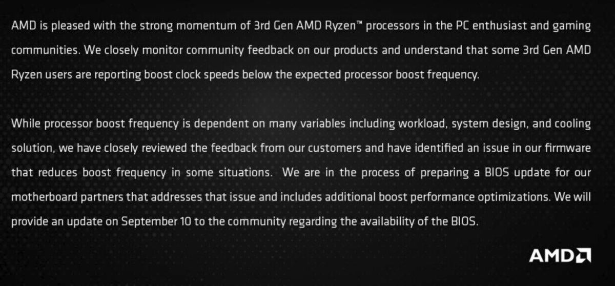 AMD acknowledges 3rd-gen Ryzen boost bug, says fix is coming