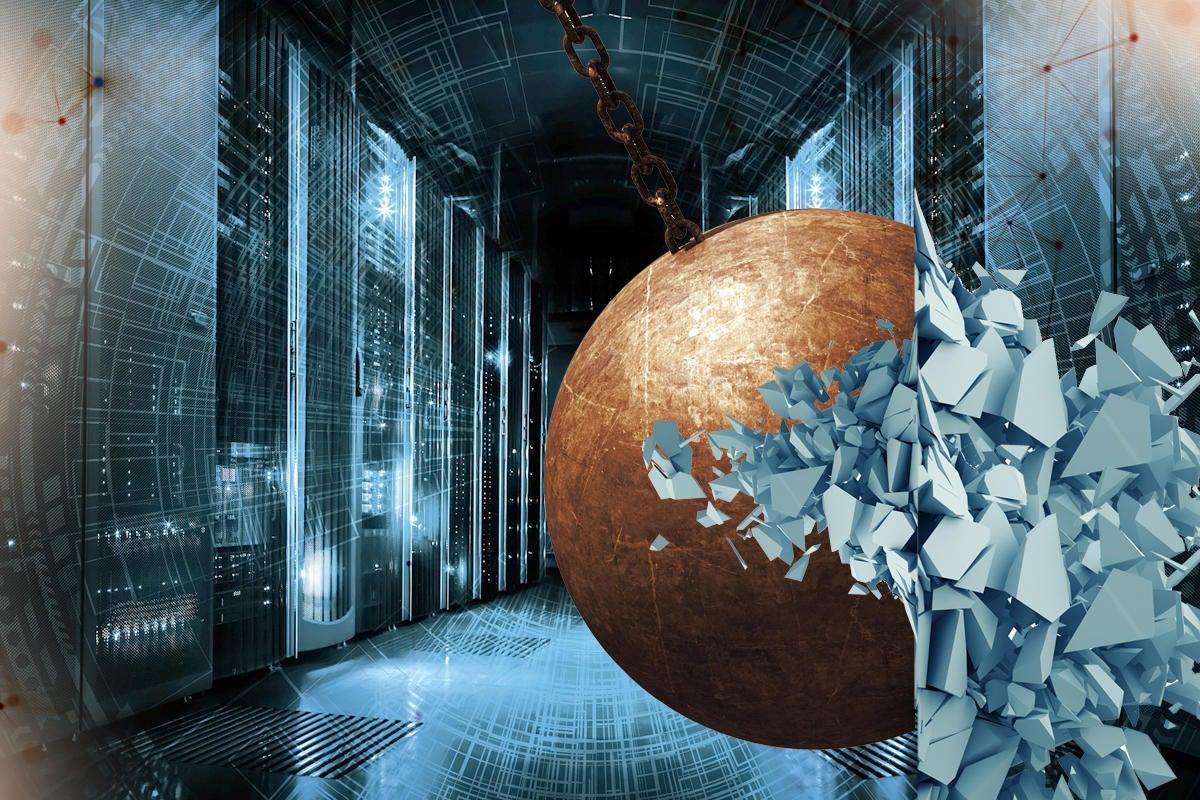 bulldozer wrecking ball deconstruct tear down decommission data center