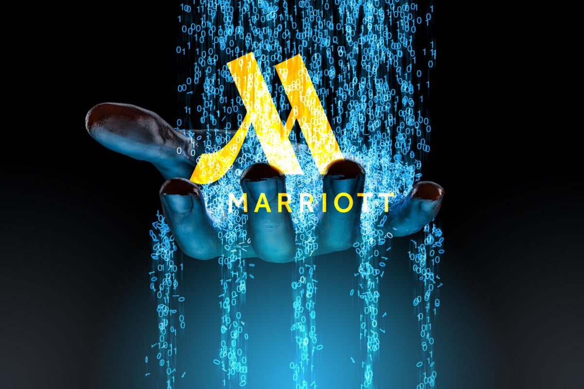 Marriott data breach  >  Marriott logo + binary data stream through the fingers of a hacker