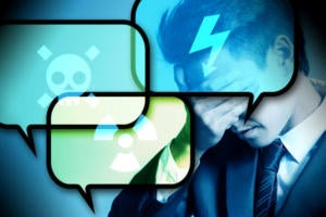 Social media threats / risks / dangers / headaches  >  Text bubbles bearing danger signs