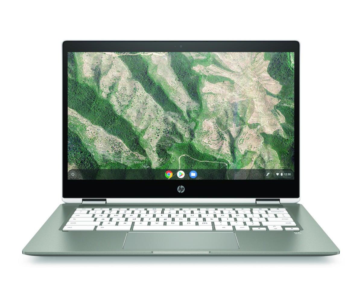 hp chromebook x360 14b mineralsilver ceramicwhite front