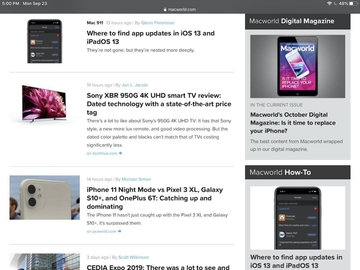 ipados 13 desktop class browsing