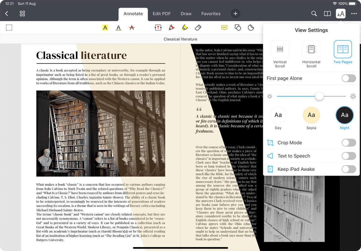 pdf expert 7 ipad view settings