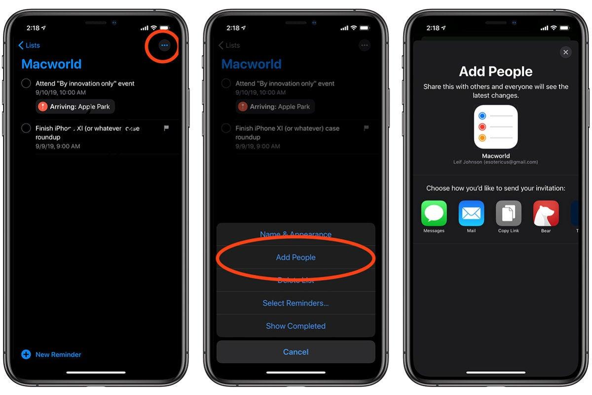 reminders app add people