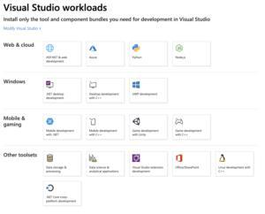 cargas de trabajo de Visual Studio