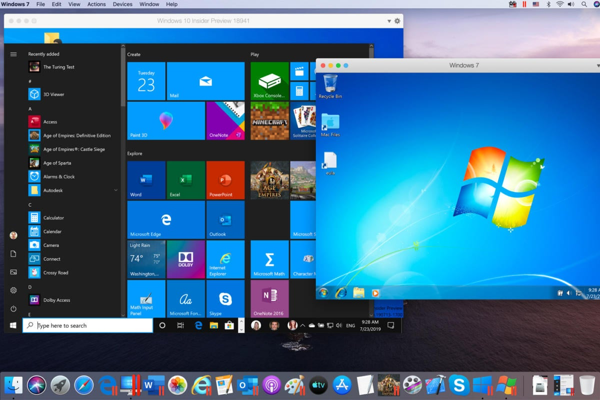 windows 10 and windows 7 running in parallels desktop 15