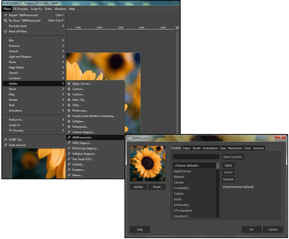 05 gimpressionist includes 77 filters 461 brushes and 63 papers textures