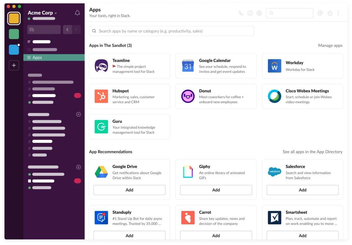 Lanzador de aplicaciones de Slack