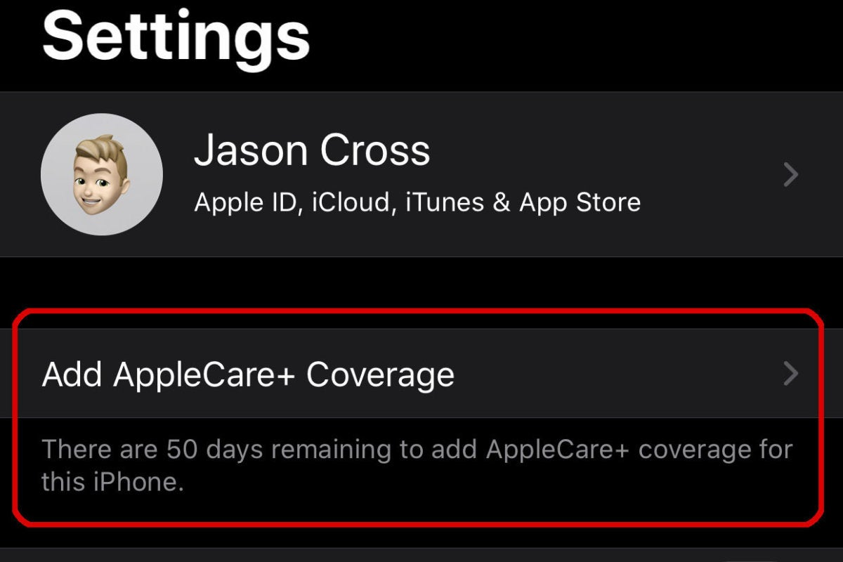 applecare settings
