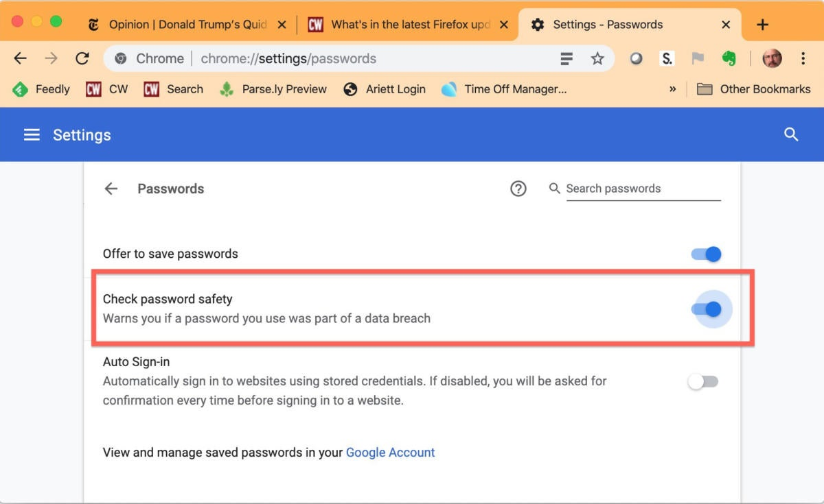 chrome 78 check password safety setting
