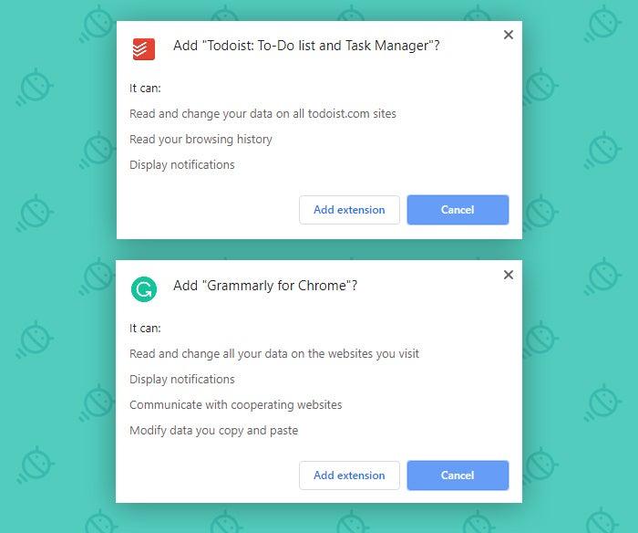 Configuración de seguridad de Chrome: permisos de extensión