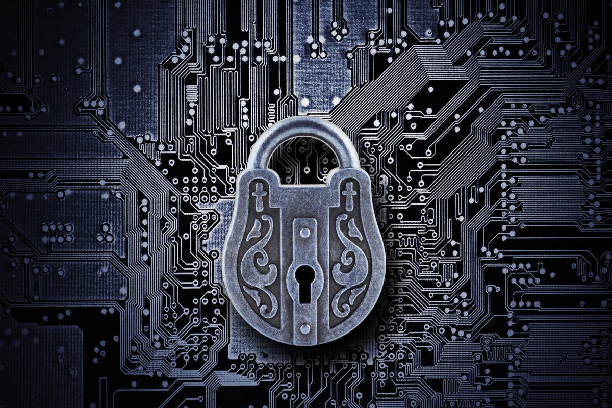 Cybersecurity  >  A mysterious and intricate padlock with complex circuits
