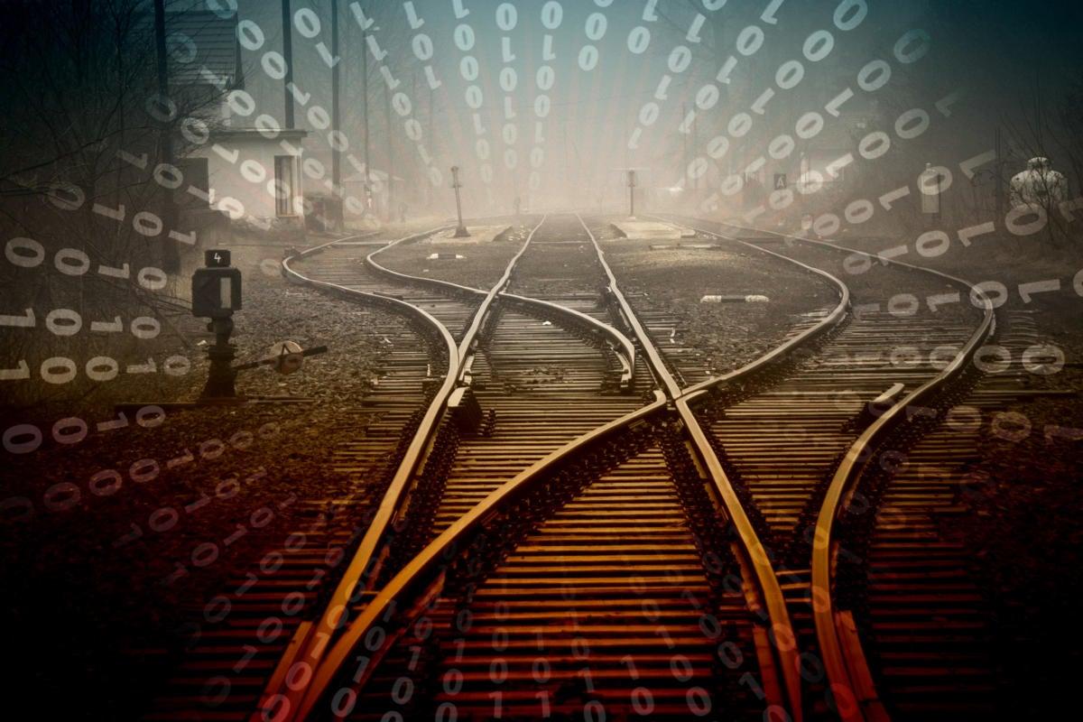 train tracks converge / rails switch / paths merge / convergence / directory traversals