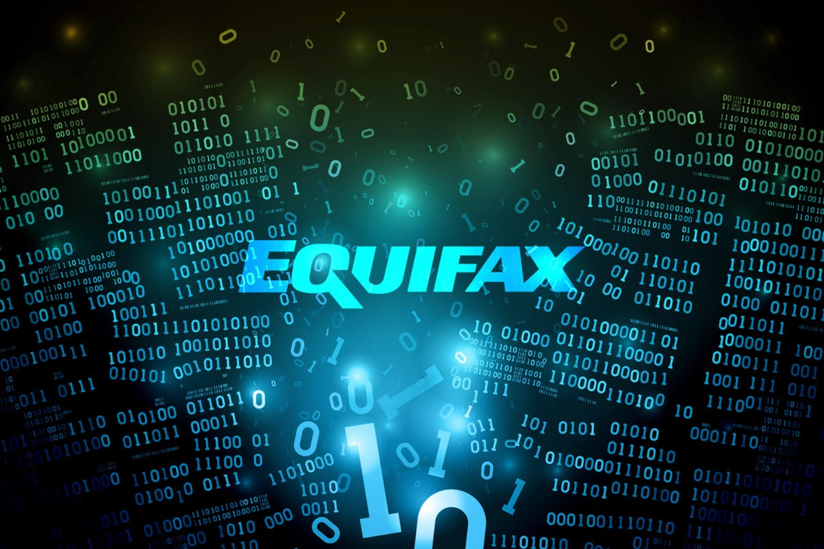 Equifax breach  >  Equifax logo amid broken, disrupted binary code