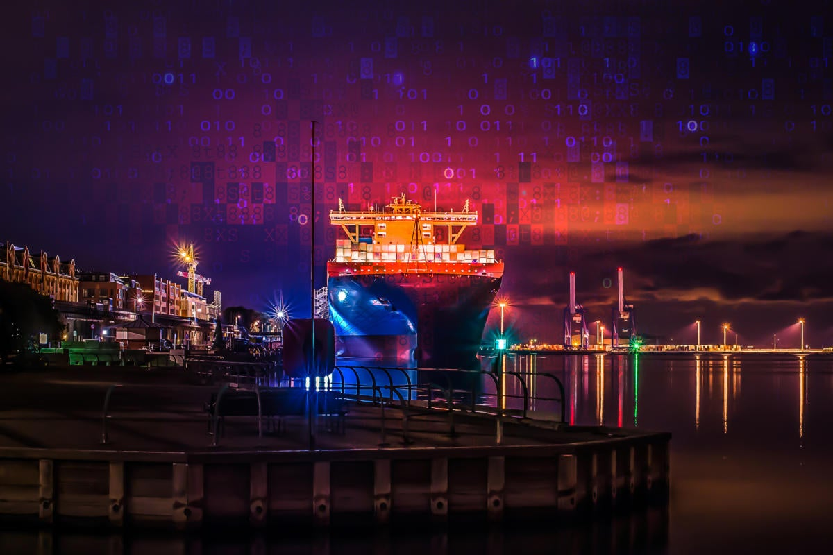 Maersk container ship / shipping containers / abstract data