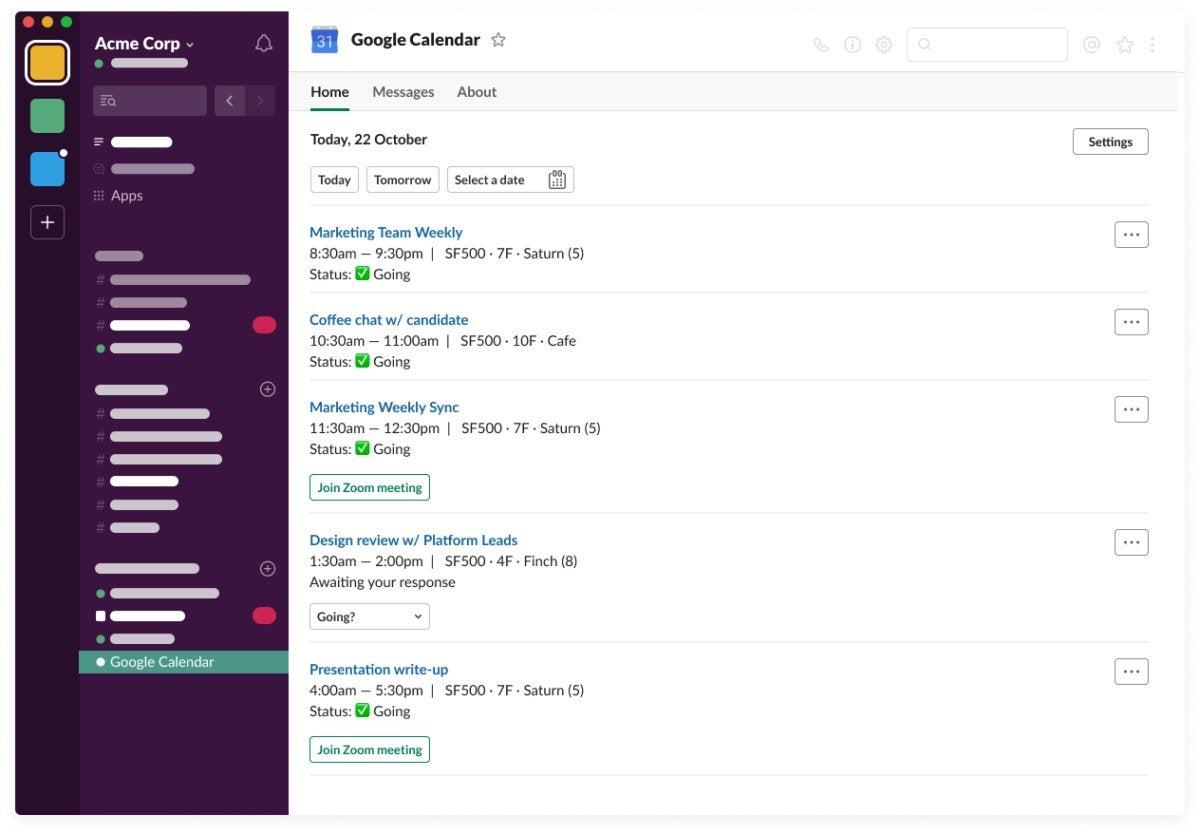 Inicio de la aplicación Google Calendar en Slack
