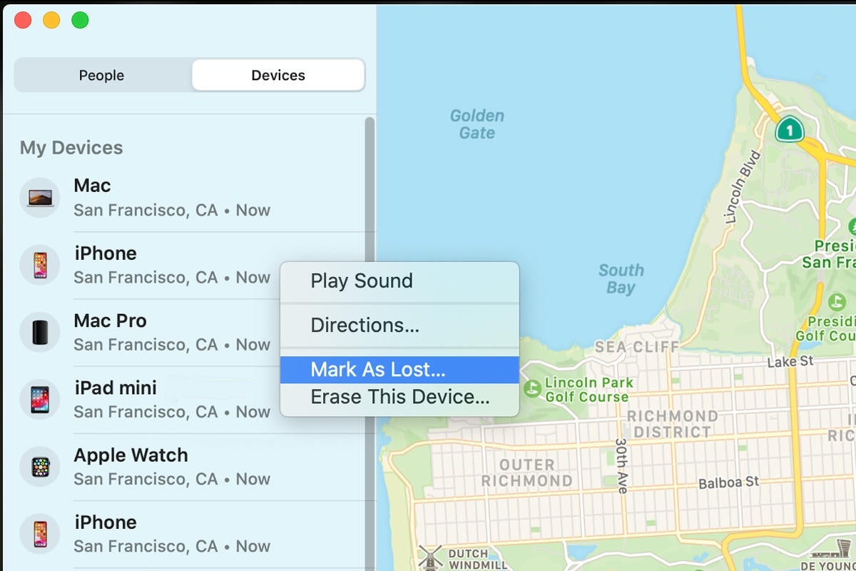 macos catalina find my mark as lost