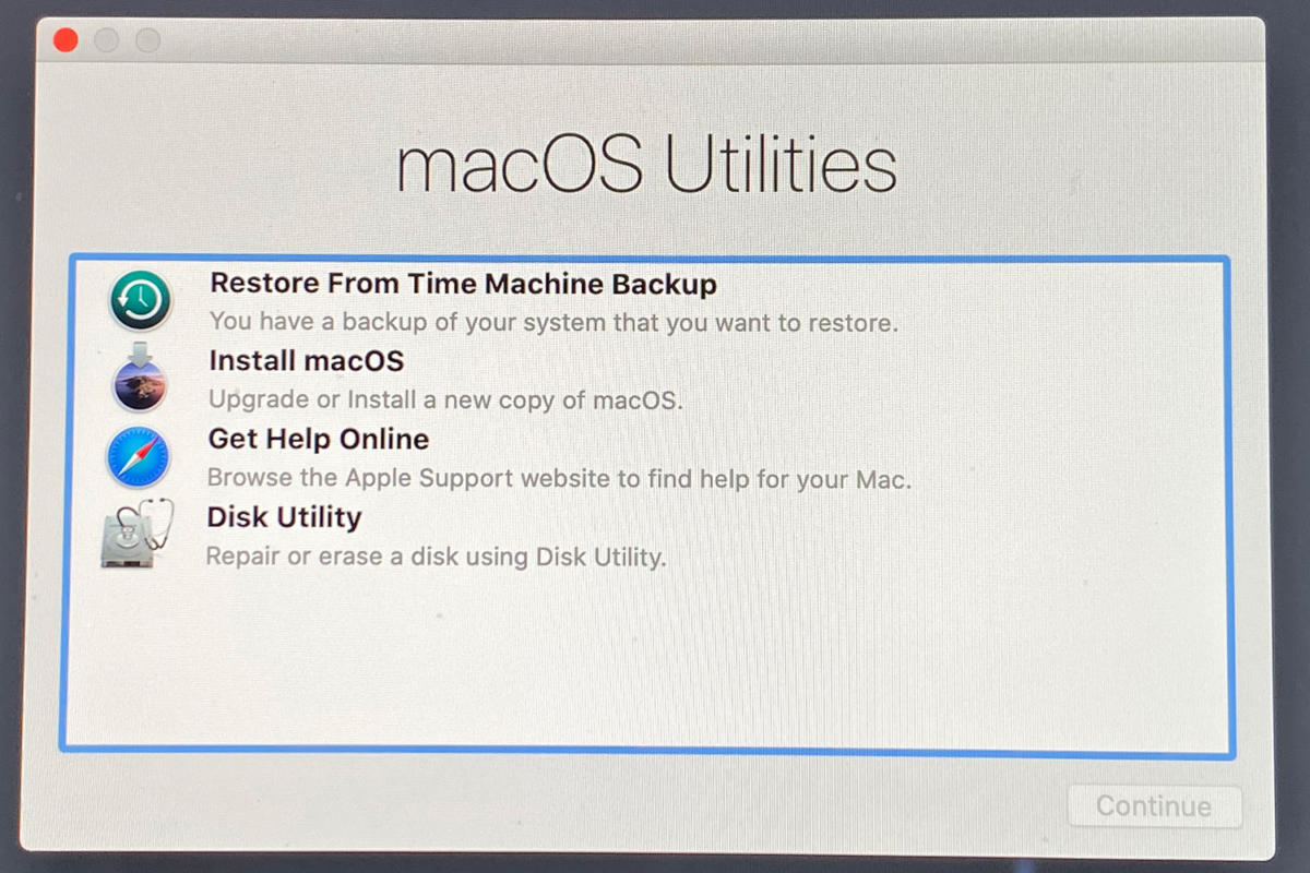 macos catalina receovery options