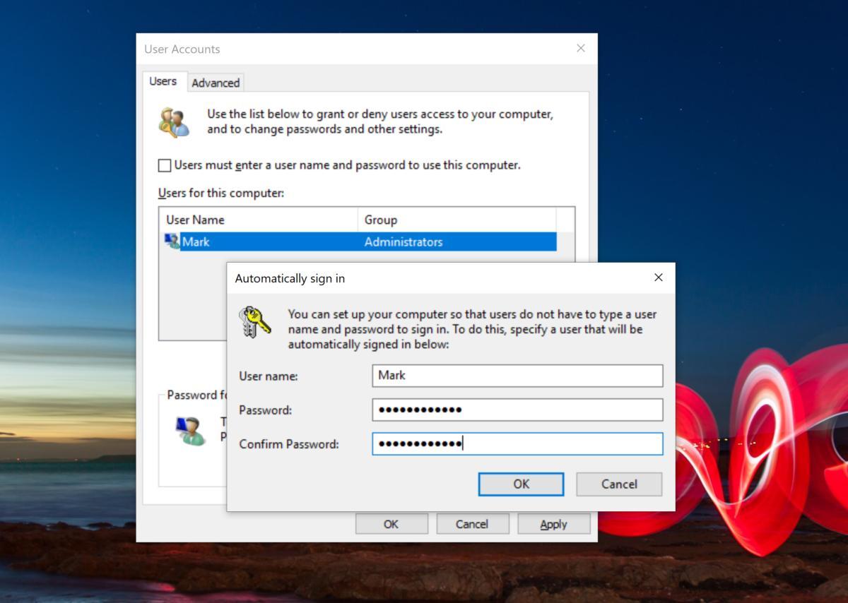 remove your windows password netplwiz 2