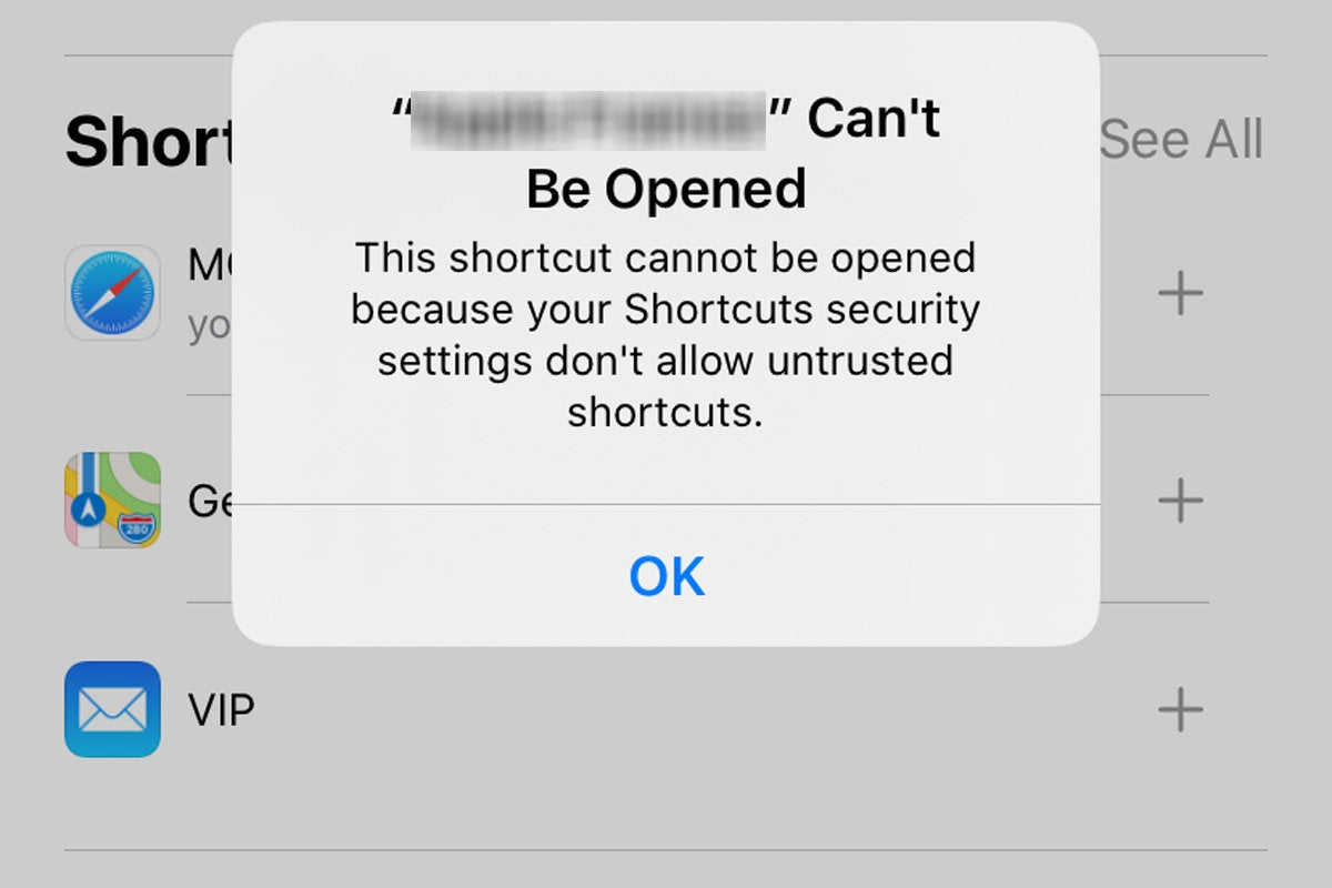 shortcut cant be opened
