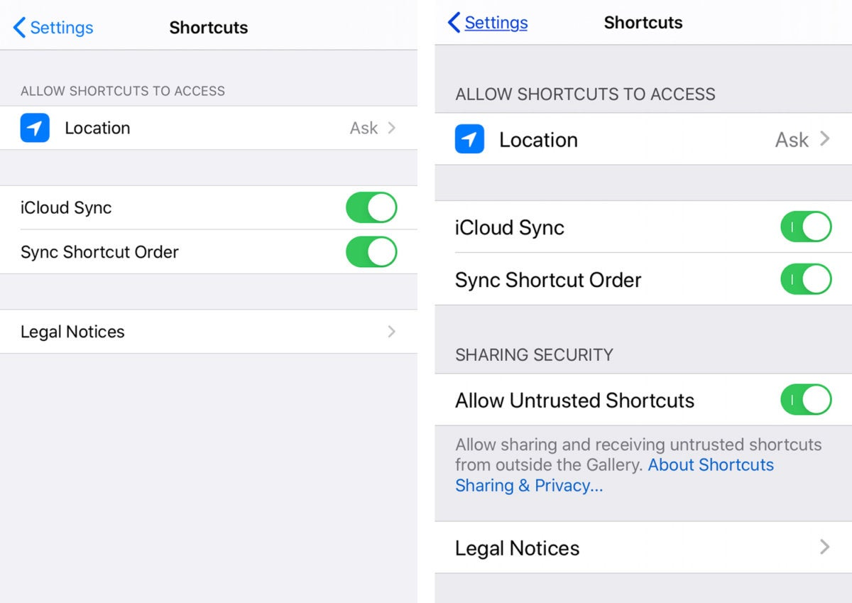 shortcuts settings sharing security