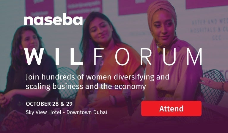 naseba WIL Forum Join hundreds of women diversifying and scaling business and the economy October 28&29 Sky View Hotel - Downtown Dubai Attend9