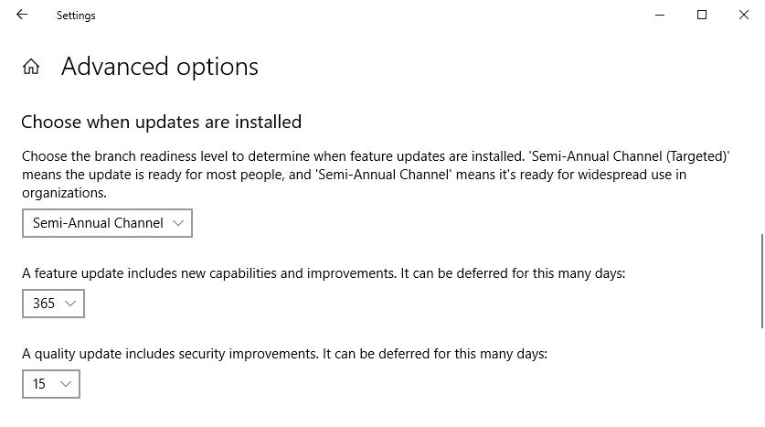 win10 pro v1809 windows update advanced options