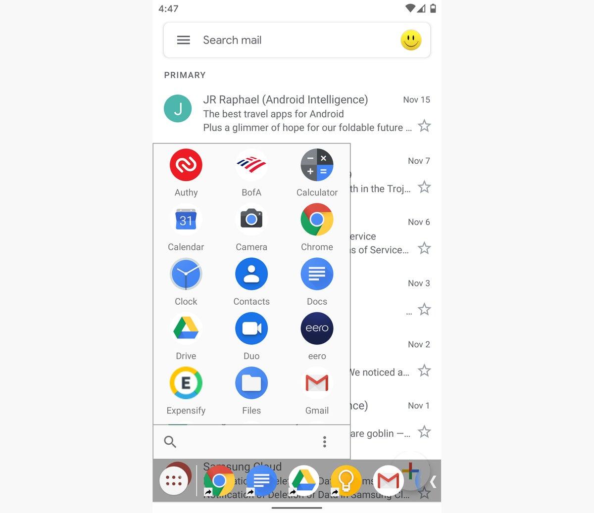 barra de tareas de aplicaciones de eficiencia de Android