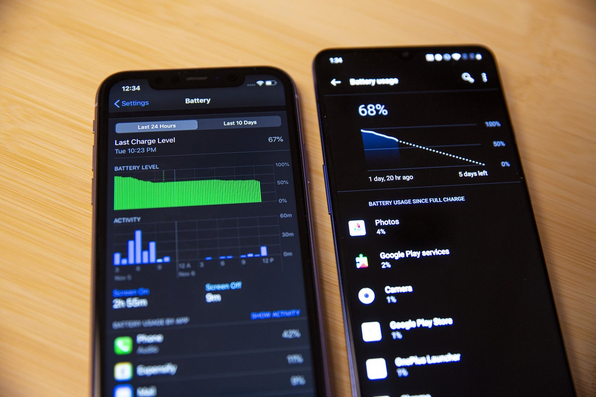 android vs iphone oneplus battery