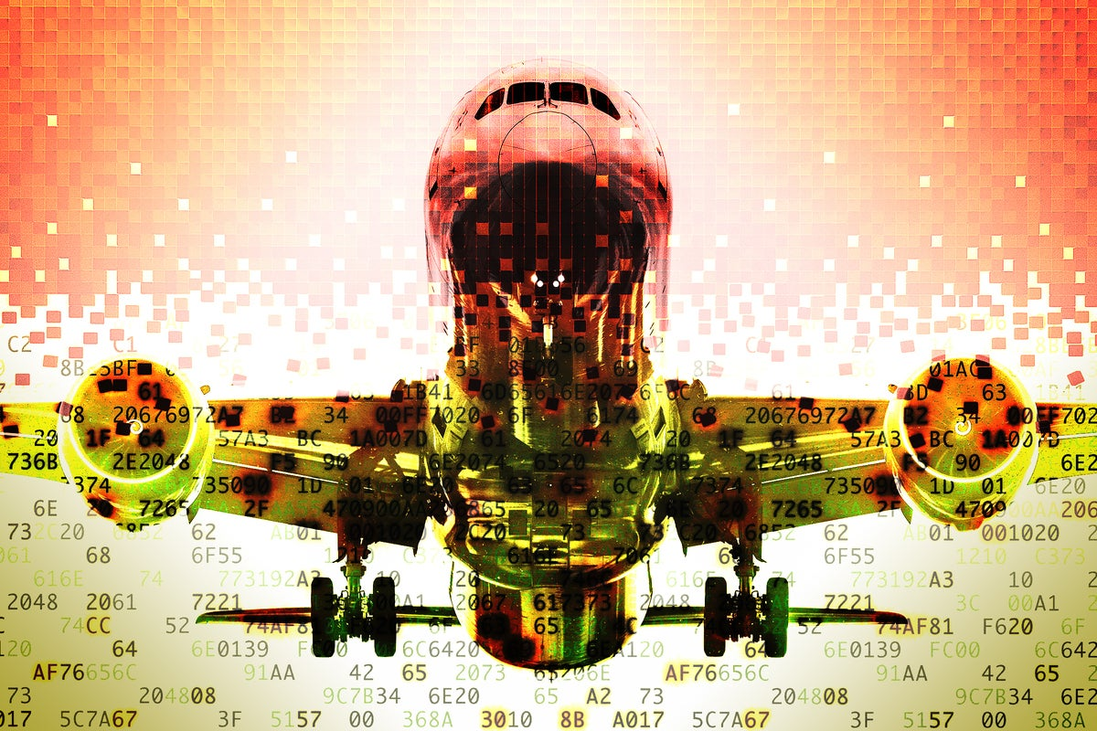 Fragmented image of a Boeing 787 airplane represented in encrypted data.