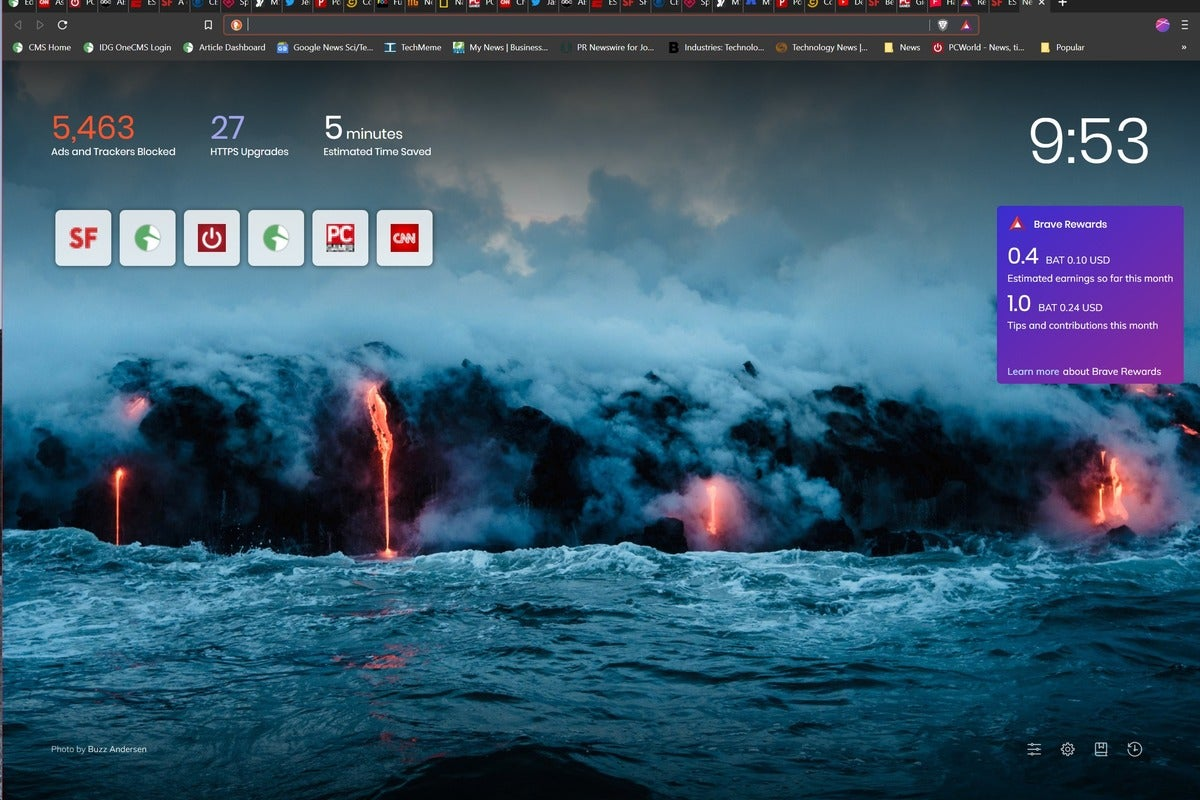 brave browser new tab page