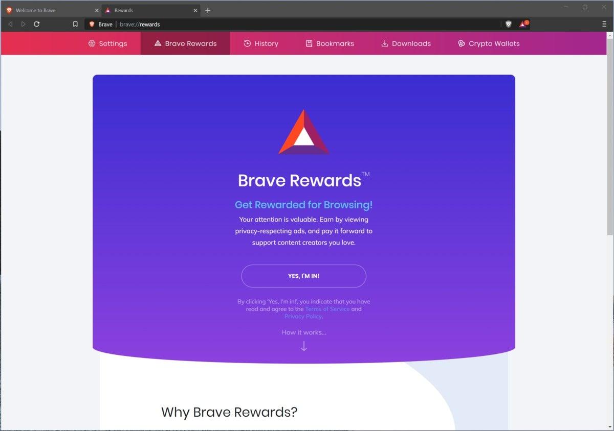 brave browser rewards startup
