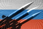 Cyber warfare  >  Russian missile launcher / Russian flag / binary code