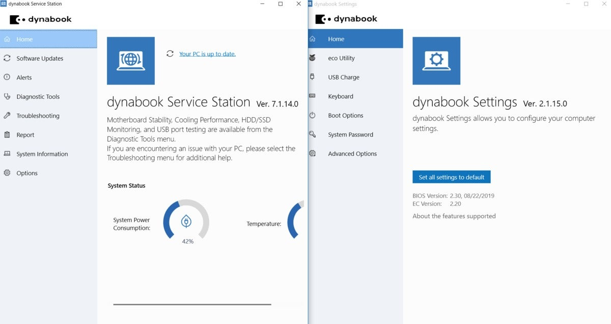 dynabook service station and settings