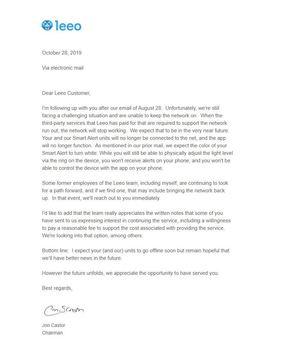leeo shutdown