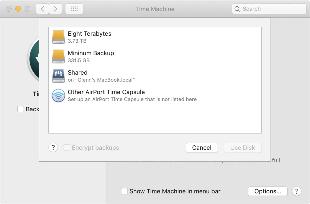 mac911 time machine shared preference