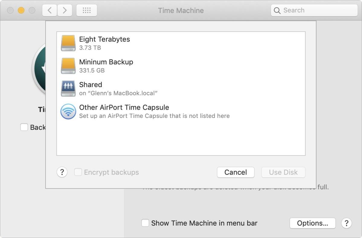 mac911 time machine shared preference