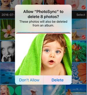 photosync 4.0 iphone delete prompt