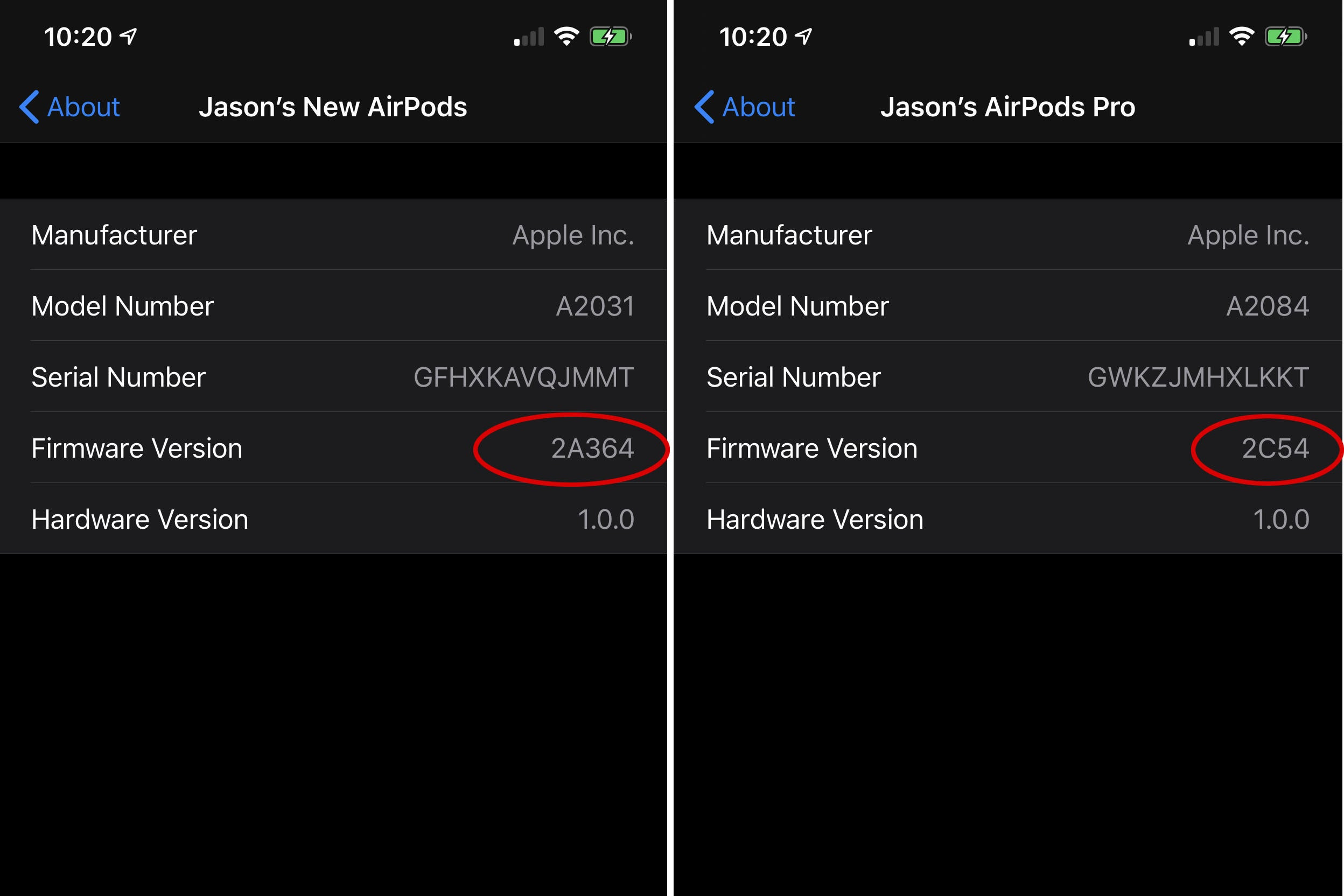 what is the latest firmware update to airpods