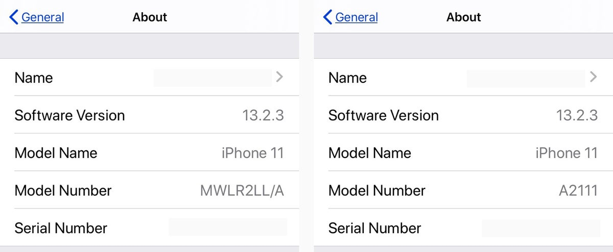 ios13 model a numbers