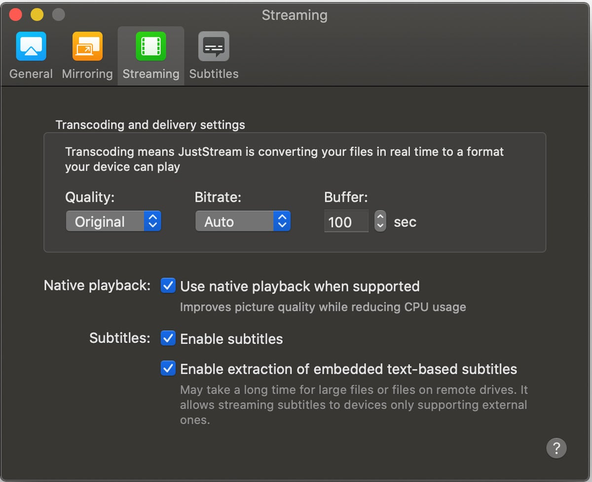 juststream streaming settings