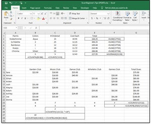 new checkout the average formulatext and four count functions
